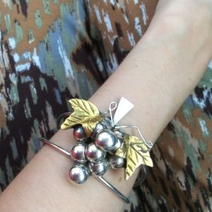 S I L V E R + Golden Grapes Bangle